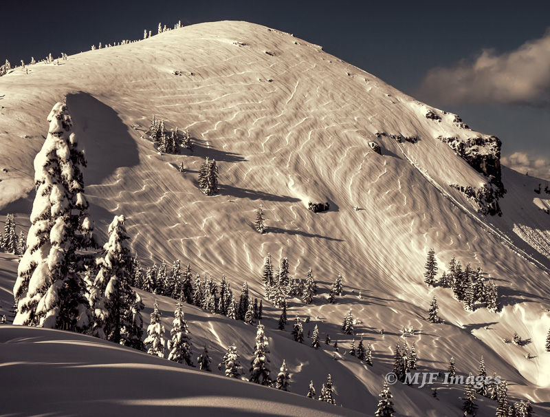 Late afternoon light hits Silver Star Mountain, Washington, after a mid-winter snowstorm.