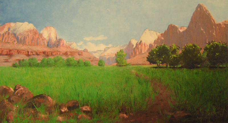 A Dellenbaugh painting of the Springdale farmland and Zion Canyon in springtime.