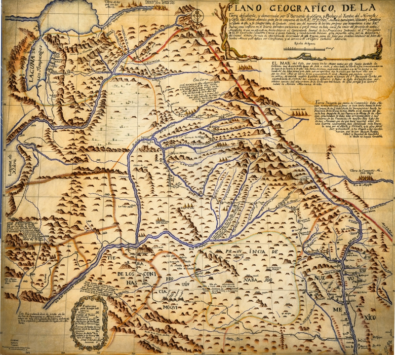 Bernardo de Miera's map of the 1776 Dominguez-Escalante expedition. Click image to go to source website.