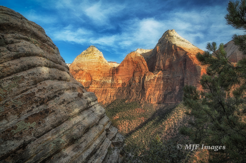 View across to Mountain of the Sun from atop the Sentinel Slide, Zion N.P.