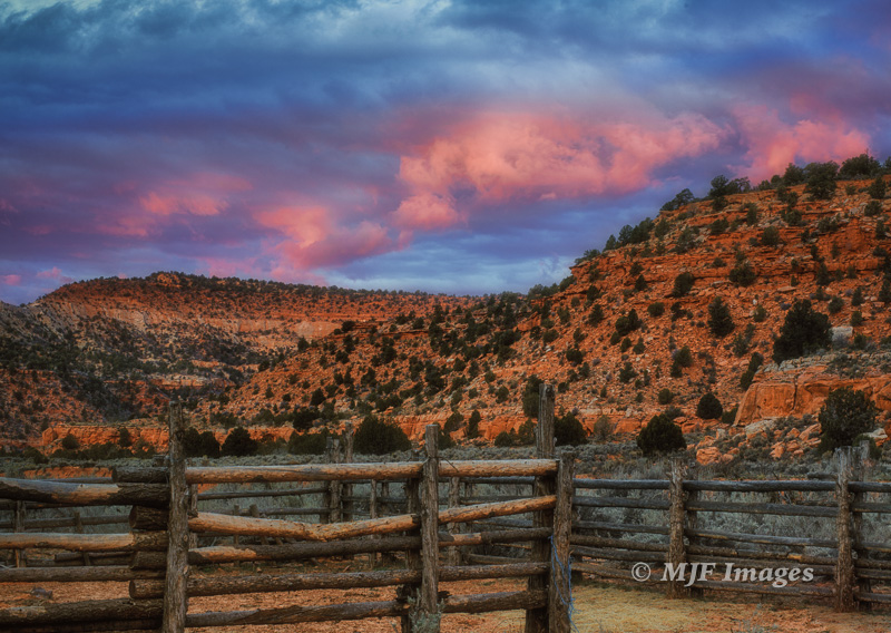 Yesterday morning, with dramatic skies heralding coming snow, a simple corral up an unnamed canyon, southern Utah.