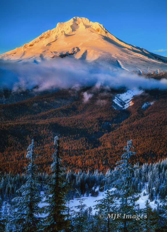 Alpenglow lights up Mount Hood in Oregon. Snow-covered Mirror Lake is at bottom.