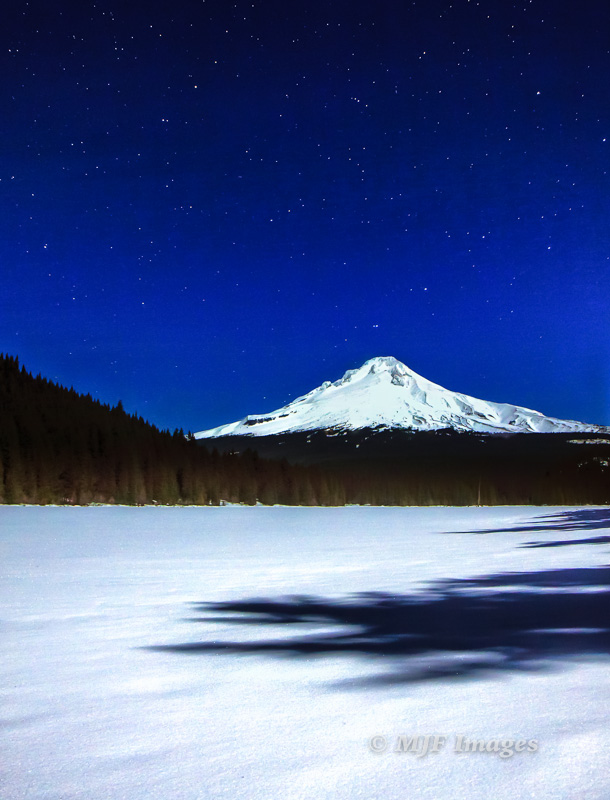 Mount Hood from Trillium Lake on a full-moon cross-country skiing outing in Oregon.