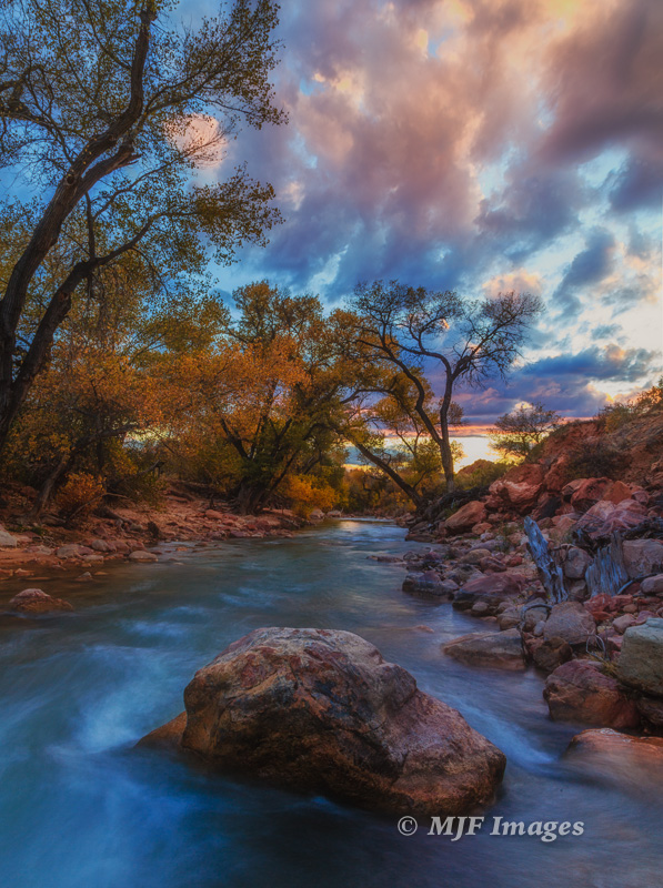 Dusk along the Virgin River in the lower canyon near Springdale.