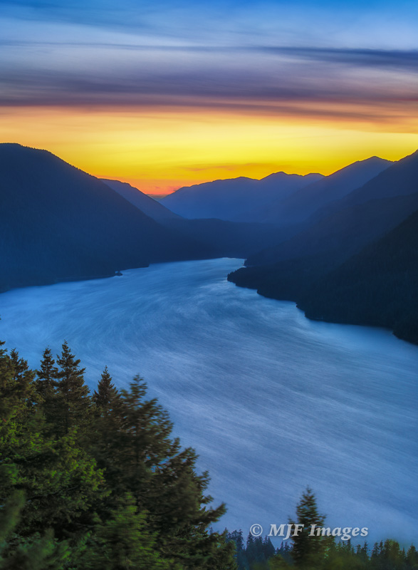Hiking to a high viewpoint gave me a chance to show the patterns of winds sweeping across Lake Crescent, Washington.
