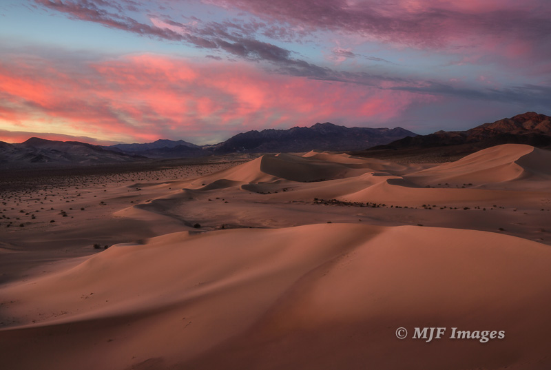Sunset colors over the Ibex dunes, Death Valley N.P.