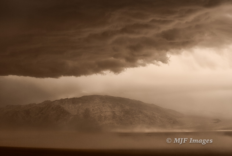 A storm blows into Death Valley last week. Dramatic Tucki Peak stands eternal guard.