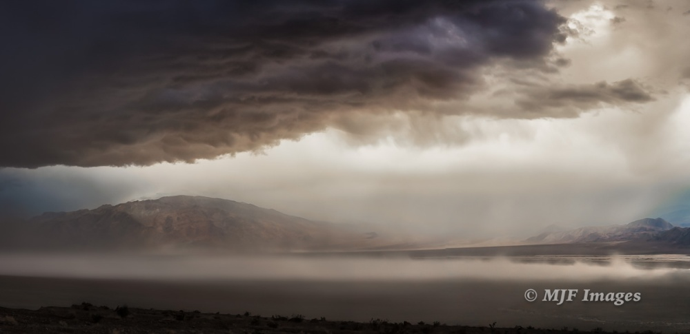 Tucki Mountain looms as a storm moves in to Death Valley.