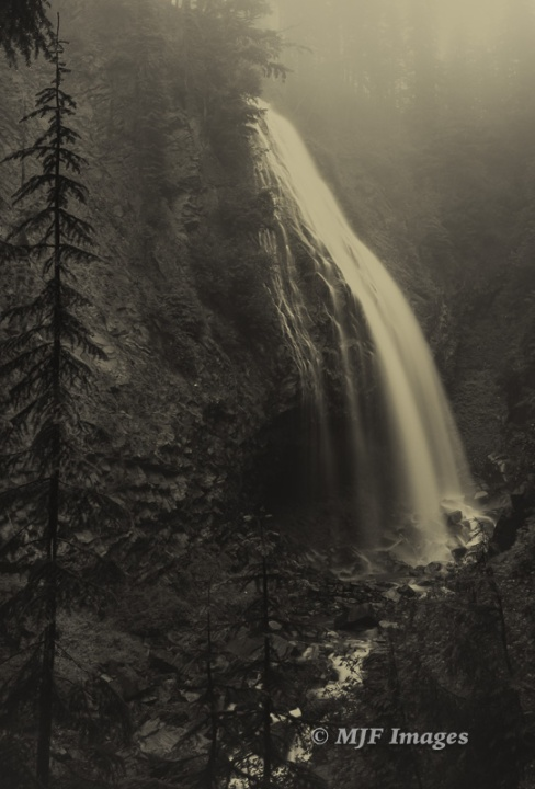Narada Falls, Mt. Rainier National Park, Washington in sepia tone.
