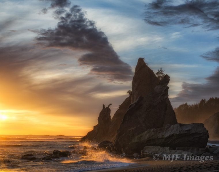 Sunset on the Olympic Coast, Washington.  50 mm., 1/80 sec. @ f/10, ISO 200; hand-held.