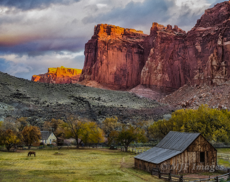 I had pre-visualized this image of the barn and cliffs of Capitol Reef, Utah. All I needed was at least one of the two horses being out in the pasture, plus good light of course.