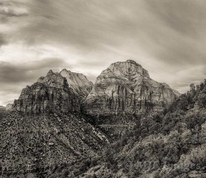 A few of Zion's temples in monochrome.