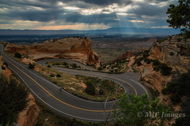 The road descending from Colorado National Monument near Grand Junction. Note the bicyclist.