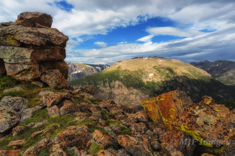 Colorful rocks and the lichen that like them:  Rocky Mtn. NP, Colorado.