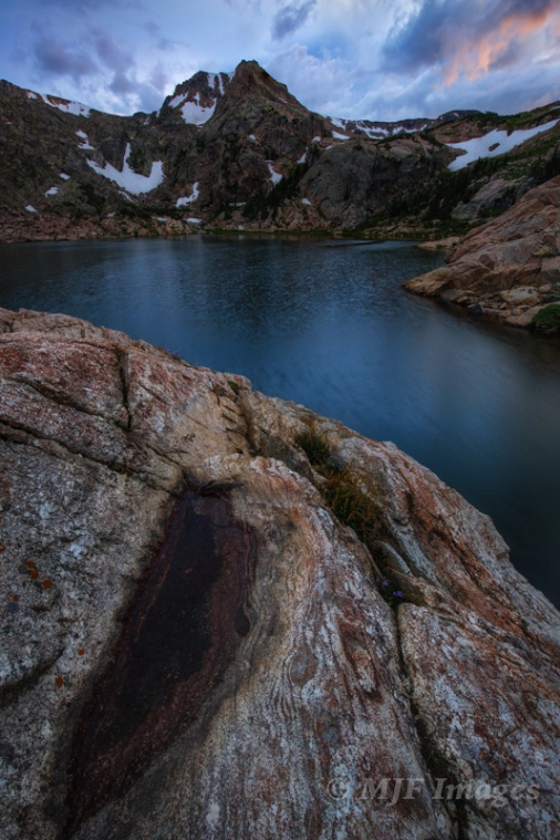 Dusk falls at Bluebird Lake. I balanced on the edge for this shot 'cause I wanted a POV highlighting the metamorphic rock textures in the foreground.