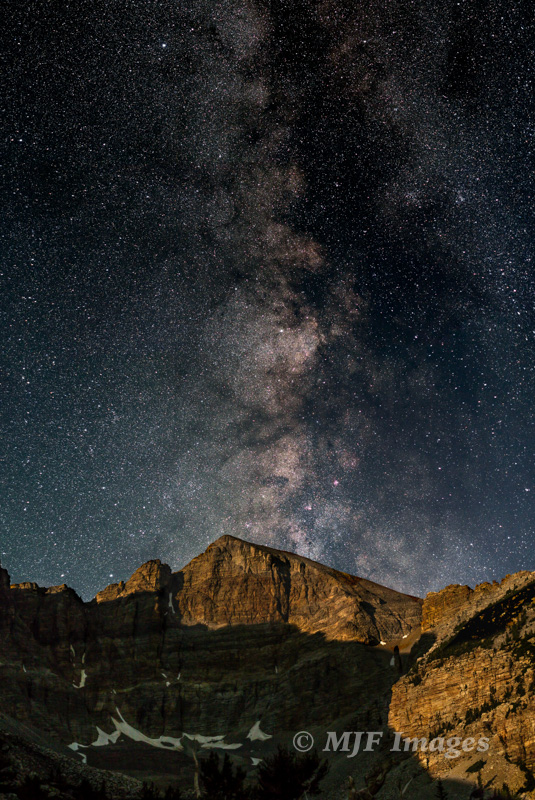 The Milky Way rises over Wheeler Peak in Great Basin National Park, Nevada.