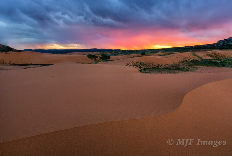 Sunset at Coral Pink Sand Dunes, a state park near the much more famous Zion National Park, Utah.