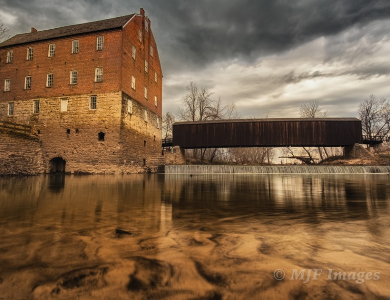 The interesting light here at Bollinger Mill & Bridge, Missouri is from a rapidly approaching violent thunderstorm.