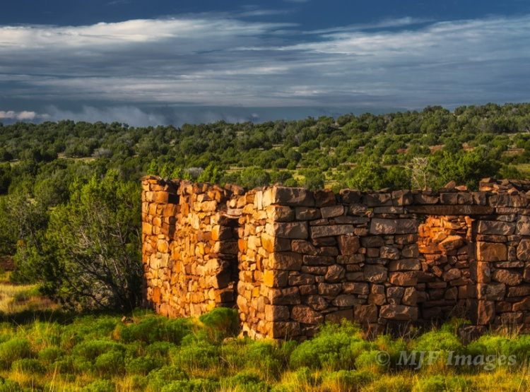 A historic building all by itself along the Santa Fe Trail in New Mexico.