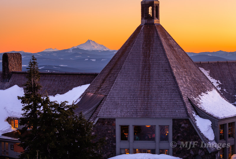 Looking south toward Mt. Jefferson from iconic Timberline Lodge, Oregon.